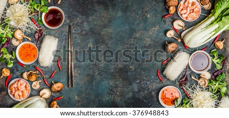 Asian food background with various of cooking ingredients on rustic background , top view , banner.  Asian food concept: Chinese or Thai cuisine. - stock photo
