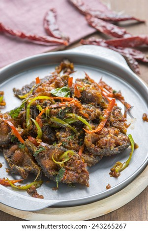Asian Food, Catfish Spicy Stir-Fry - stock photo