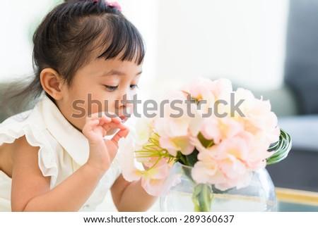 Asian girl at home - stock photo
