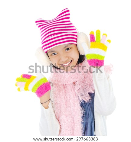 Asian girl in winter clothes - stock photo
