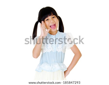 Asian girl screaming and open open her hand. Isolated on white. - stock photo