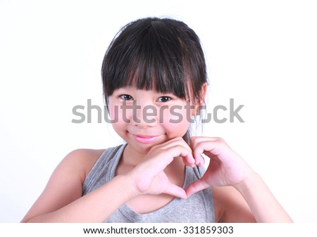 Asian girl show love sign hand on white background - stock photo