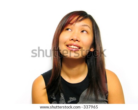 asian girl smiling - stock photo