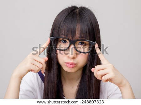 asian girl student in school study hard uniform  japanese style - stock photo