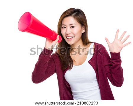 Asian girl yell with megaphone - stock photo