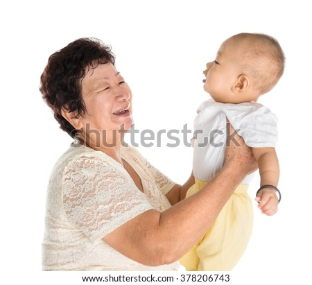 Asian grandmother and grandson portrait, isolated on white background. - stock photo