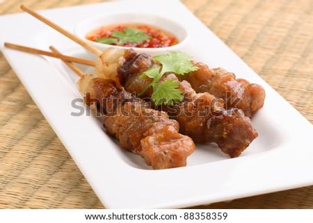 Asian grilled pork, Thai food - stock photo