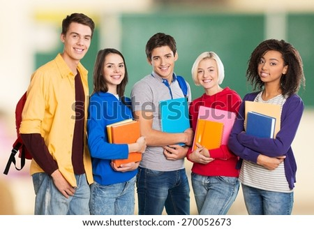 Asian. Group portrait of asian students in campus - stock photo