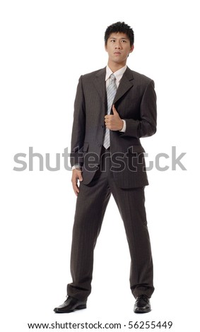 Asian handsome business man, full length portrait isolated on white background. - stock photo