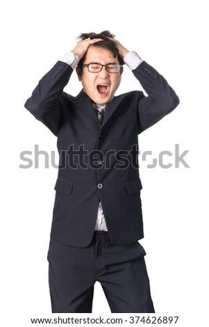 Asian handsome businessman holding his head frowning with worry screaming. Man pulling his hear for worry, sadness, desperation, so serious, funny, isolated on white background - stock photo