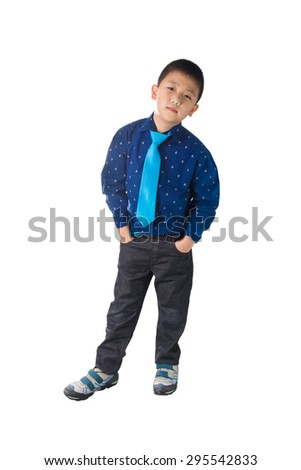 Asian Happy Boy with necktie standing and Smiling, isolated on white background - stock photo