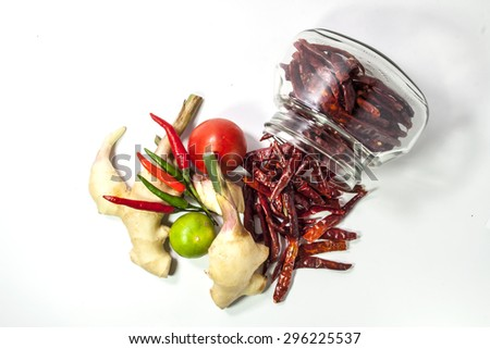 "Asian herb and spicy ""Tom Yum"" ingredients food - stock photo"