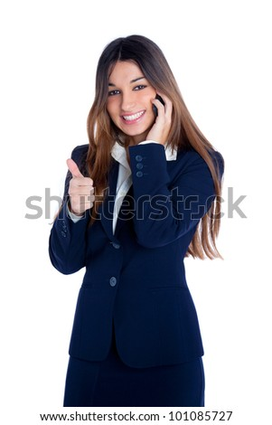 asian indian business woman talking mobile phone happy smiling with blue suit on white - stock photo