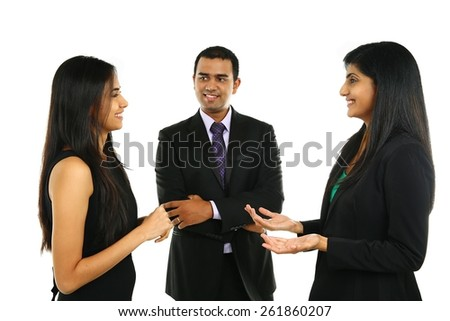 Asian Indian businessmen and businesswoman in group isolated on white. A business team of three people having a meeting in office. Teamwork concept. - stock photo