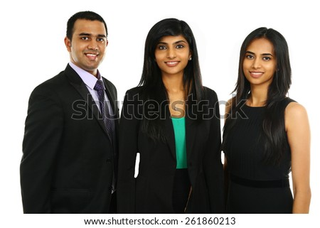 Asian Indian businessmen and businesswoman in group isolated on white. Teamwork concept. - stock photo