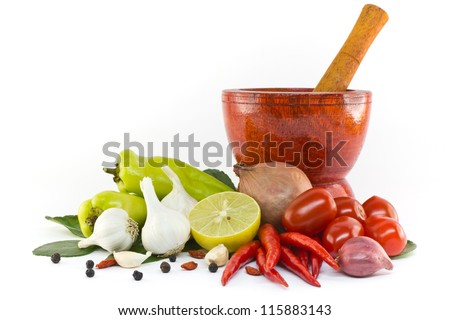 Asian ingredients food with wooden mortar - stock photo