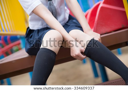 asian japanese girl student in school uniform - stock photo