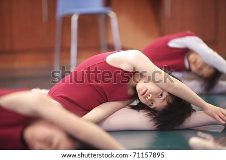 Asian kid dancing - stock photo