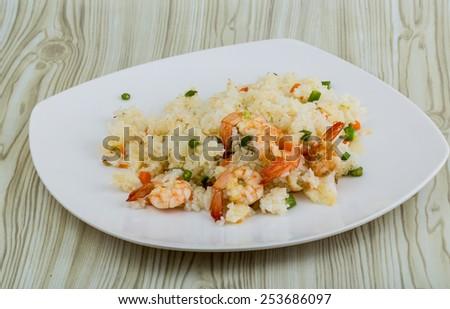 Asian kitchen - Fried rice with prawns - stock photo