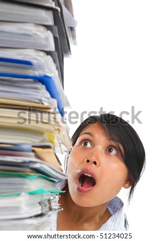 Asian lady surprised by high pile of paperwork. ******* PS: stitching image ******* - stock photo