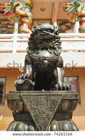 Asian lion in chinese temple - stock photo