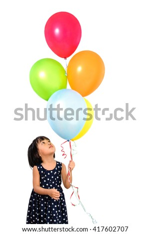 Asian Little Chinese Girl Holding Colorful Balloons in isolated White Background - stock photo