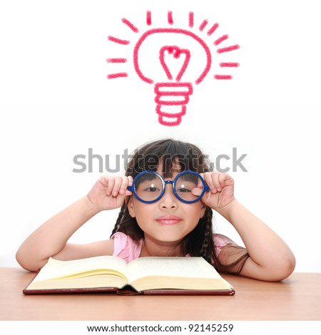 Asian little girl get idea isolated on a over white background - stock photo