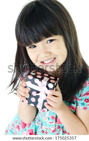 Asian Lovely girl with giftbox on white background .  - stock photo