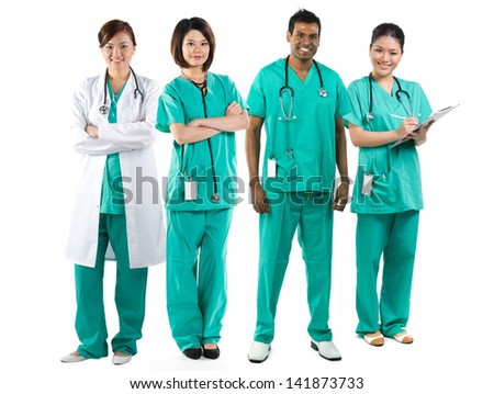 Asian Male and Female medical team wearing uniform's. Isolated on white. Full length Portrait. - stock photo