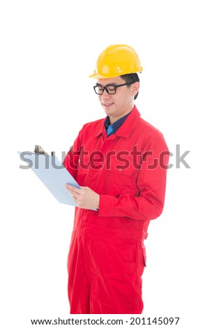asian male engineer doing report  in white background - stock photo