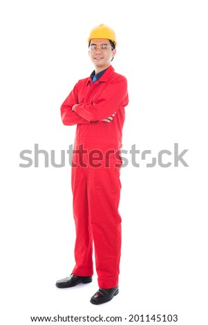 asian male engineer in white background - stock photo