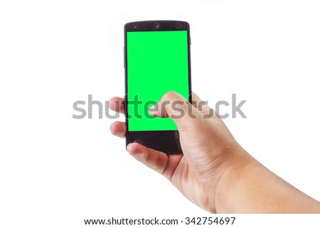 Asian male hand holding and touching on mobile smartphone with blank screen. Isolated on white background. - stock photo