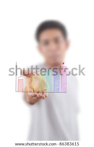 Asian man give up graph for business concept. - stock photo