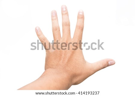 Asian man hand showing five count - stock photo