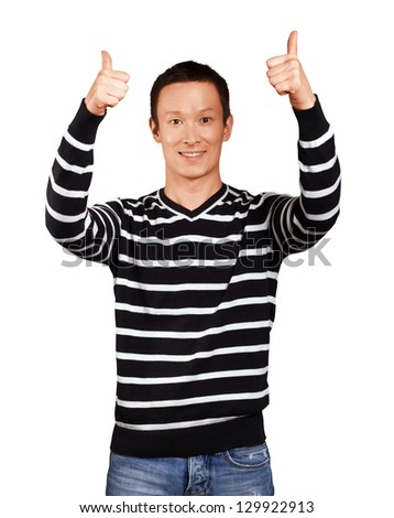 Asian man in striped, showing well done with both hands - stock photo