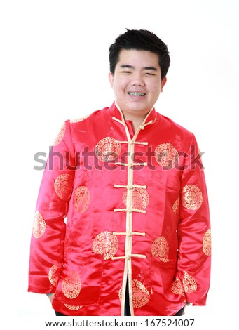 Asian man is smile in chinese new year day,on white background - stock photo