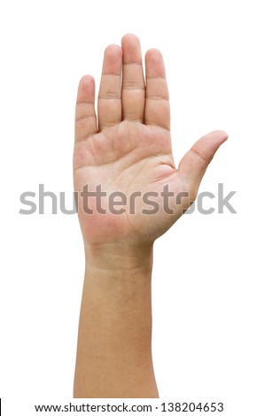 Asian man's open hand isolated on white. - stock photo