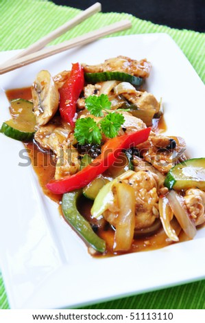 asian meat and vegetables plate - stock photo