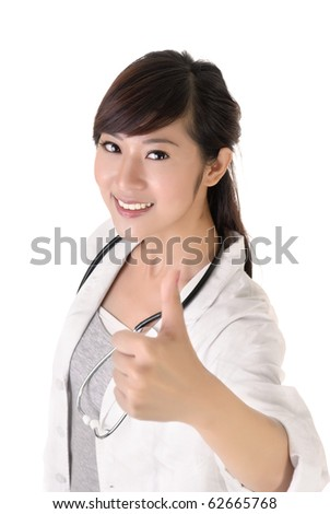 Asian medical doctor woman give you excellent sign with smiling. - stock photo