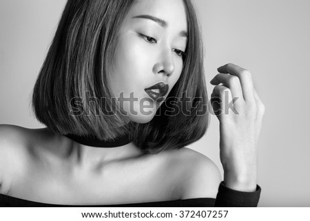 Asian model beauty glamour portrait - stock photo