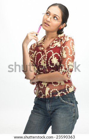 Asian modern girl with pen - stock photo
