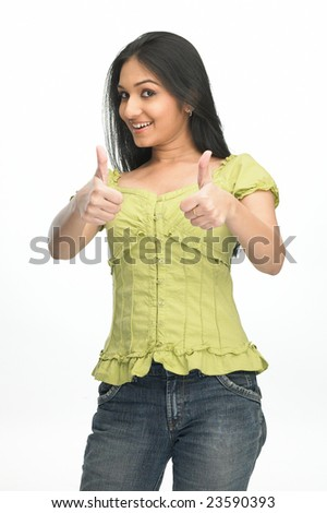 Asian modern showing fingers with two hands - stock photo