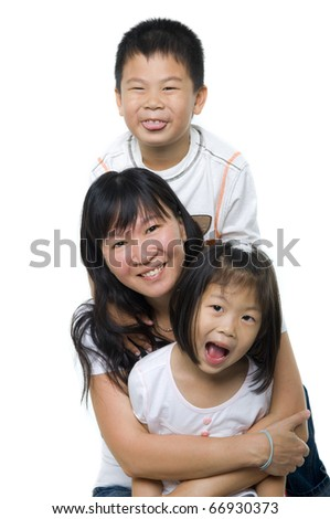 Asian mother and children on white background - stock photo