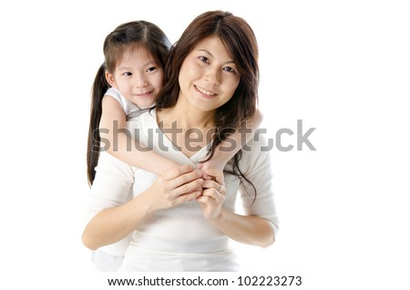 Asian mother and her daughter on white background, perfect for mother's day - stock photo