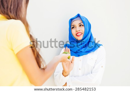 asian muslim woman refraining from food on Ramadan - stock photo