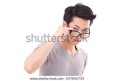 asian nerd man looking at you - stock photo