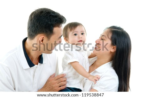 Asian parent and their baby girl - stock photo