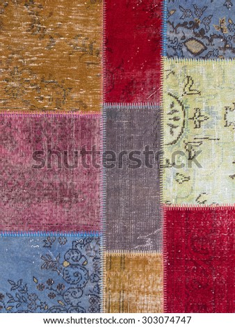 Asian patchwork carpet in Istanbul, Turkey. Close up - stock photo