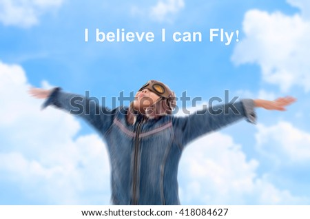 Asian pilot boy raising his hands with blue sky and dreaming to fly l - stock photo