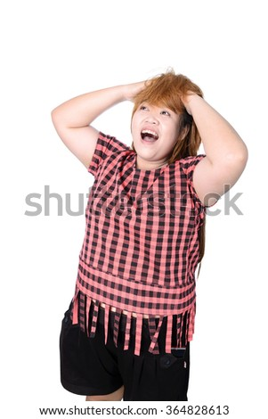 Asian plump woman holding her head frowning with worry screaming. Man pulling her hear for worry, sadness, desperation, so serious, funny, isolated on white background - stock photo